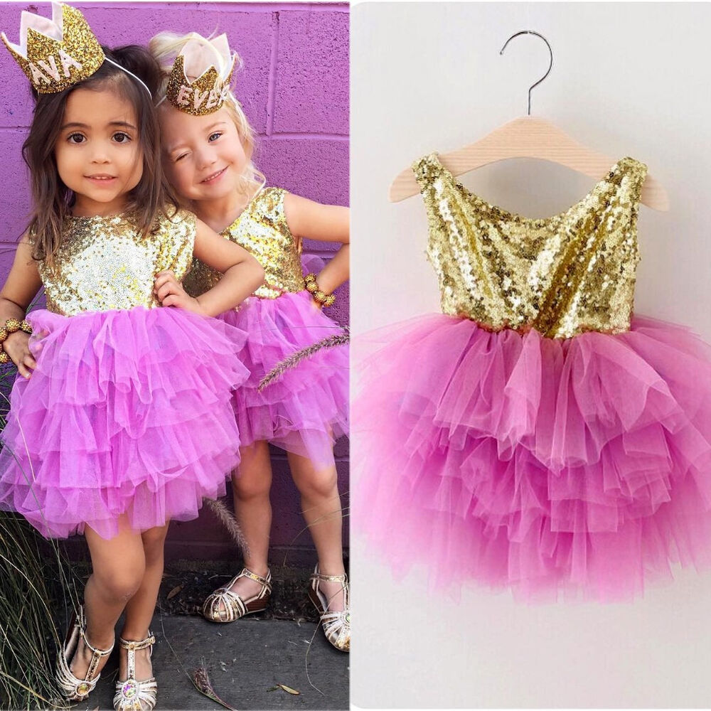 Sequins Kids Baby Girls Princess Pageant Tulle Layered ...