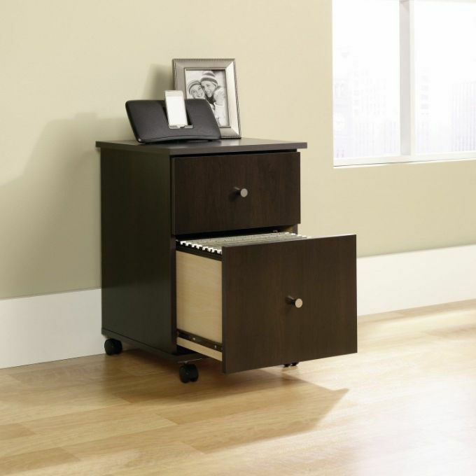 Filing Cabinet 2 Drawer Wood Record Storage File Rolling