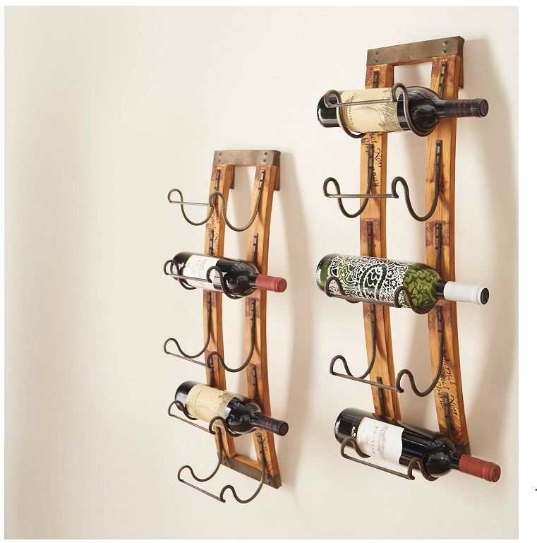 5 bottle wall hanging wine rack storage holder wood metal Hanging wooden wine rack