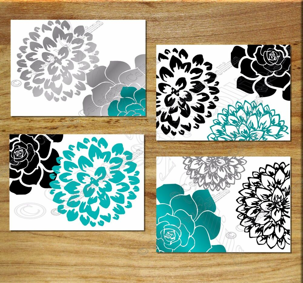 Black teal gray white wall art prints home decor flower for Wall art prints