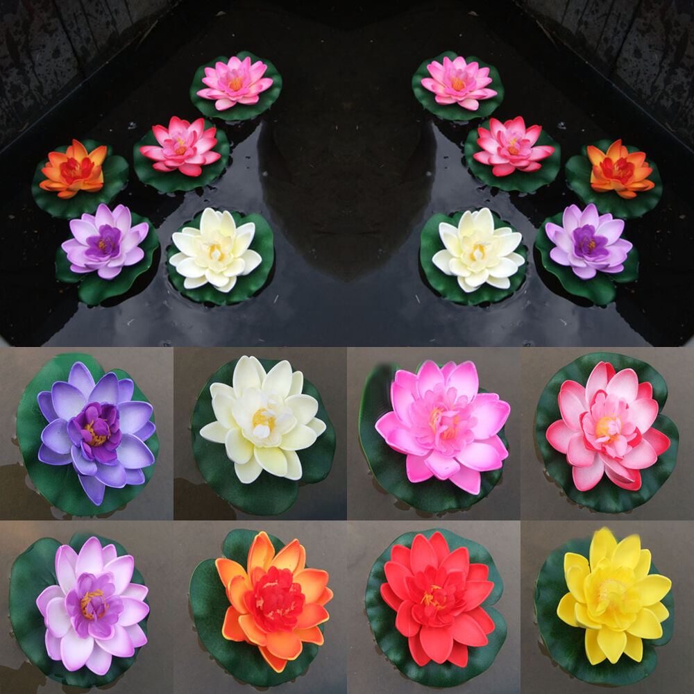 Artificial water lily floating flower lotus home yard pond for Pond decorations
