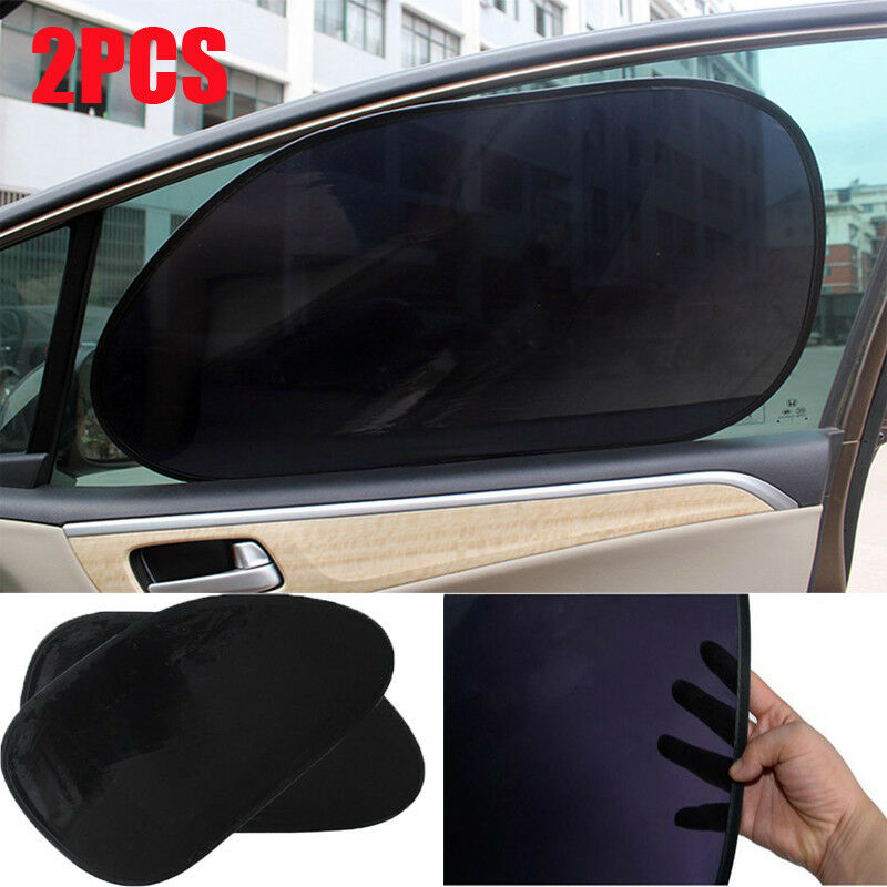 2pc car rear window side sun shade cover block static cling visor shield screen ebay. Black Bedroom Furniture Sets. Home Design Ideas