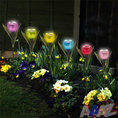 Garden Tulip Flower Shape Led Solar Powered Lights Outdoor Standing Decor Yard Ebay