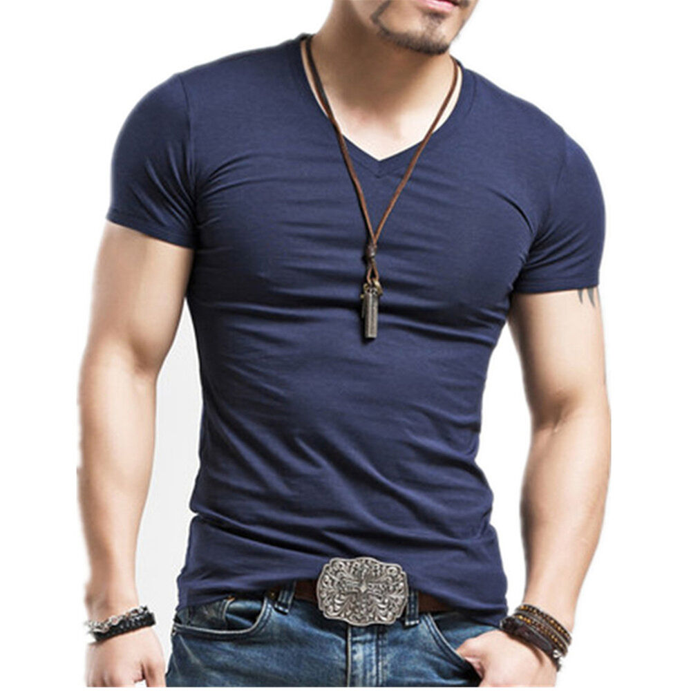 Fashion men 39 s short sleeve slim fit v neck crew neck for Men s fashion short sleeve shirts
