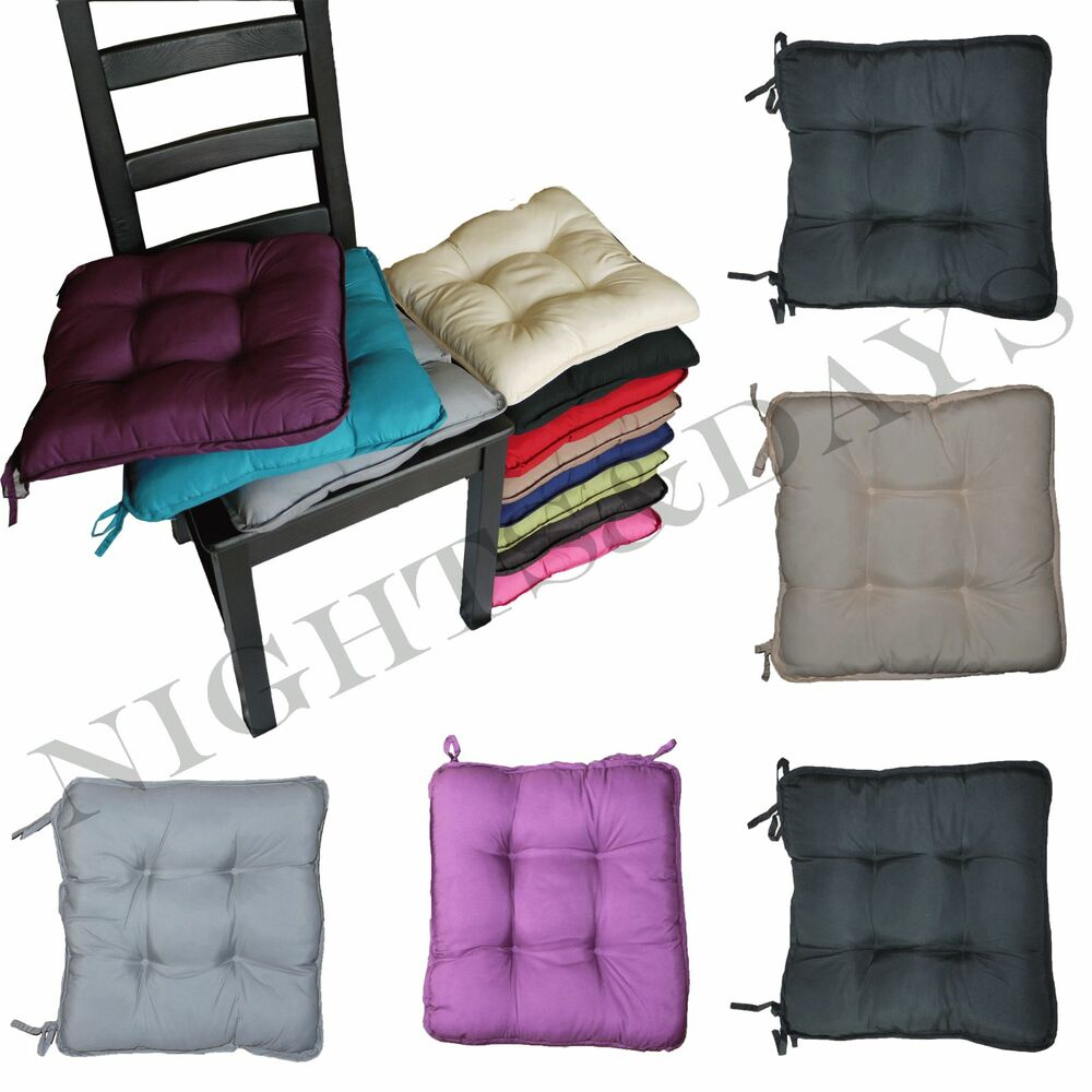 colourful seat pads dining room garden kitchen chair cushions with tie on ebay. Black Bedroom Furniture Sets. Home Design Ideas