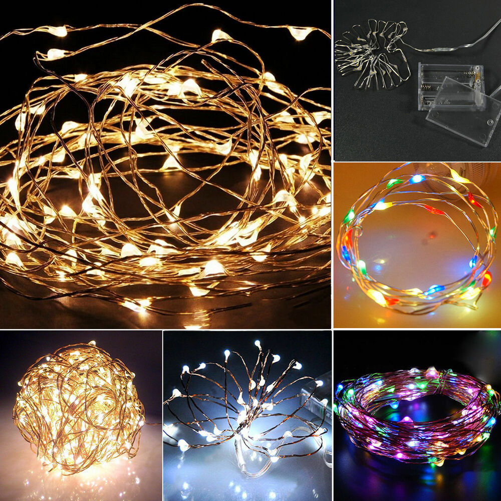 3aa battery 10m 33ft 100 led operated mini led copper wire. Black Bedroom Furniture Sets. Home Design Ideas