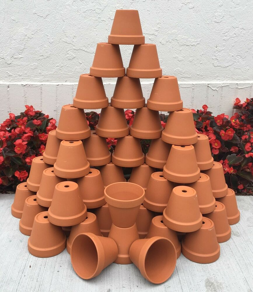 Bulk lot 50 3 inch red clay flower pots garden craft for Small clay flower pots