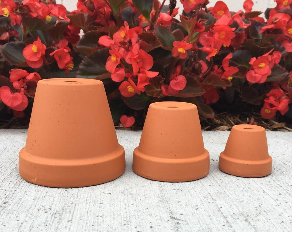 Sample lot 1 5 2 3 red clay flower pots 1 of each for Small clay flower pots