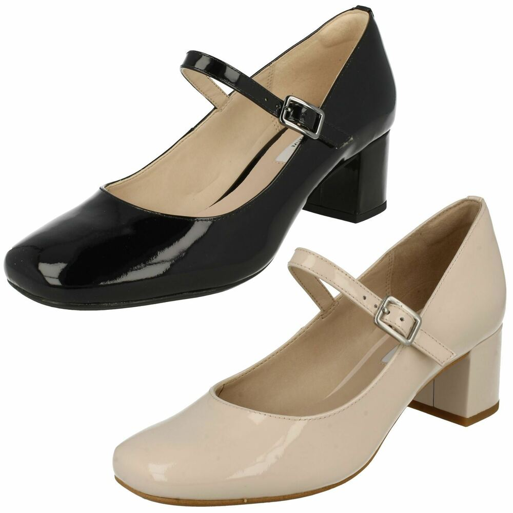 Clarks Ladies Black Patent Shoes