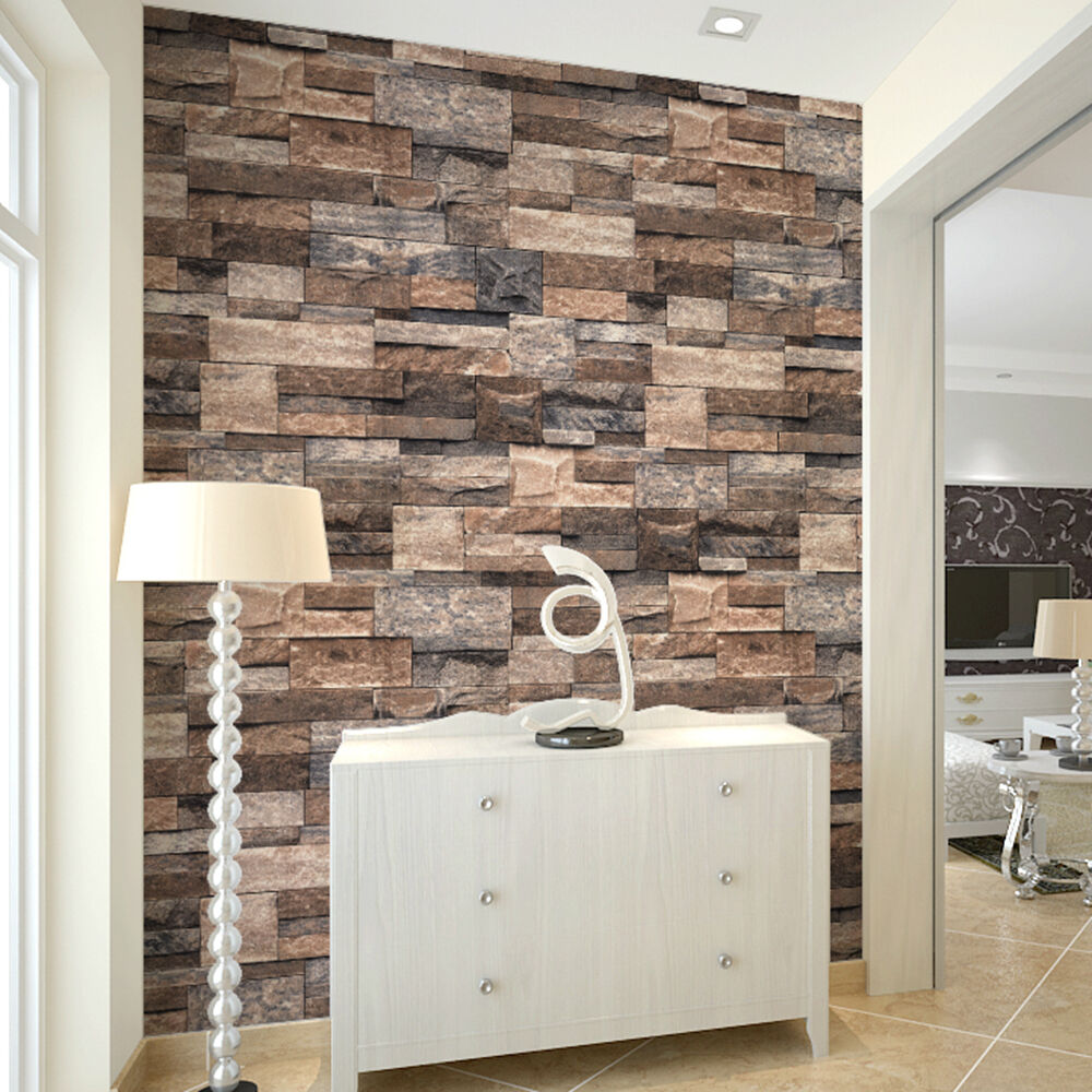 Vintage faux stone wallpaper rolls tan brown grey 3d brick for Black 3d brick wallpaper