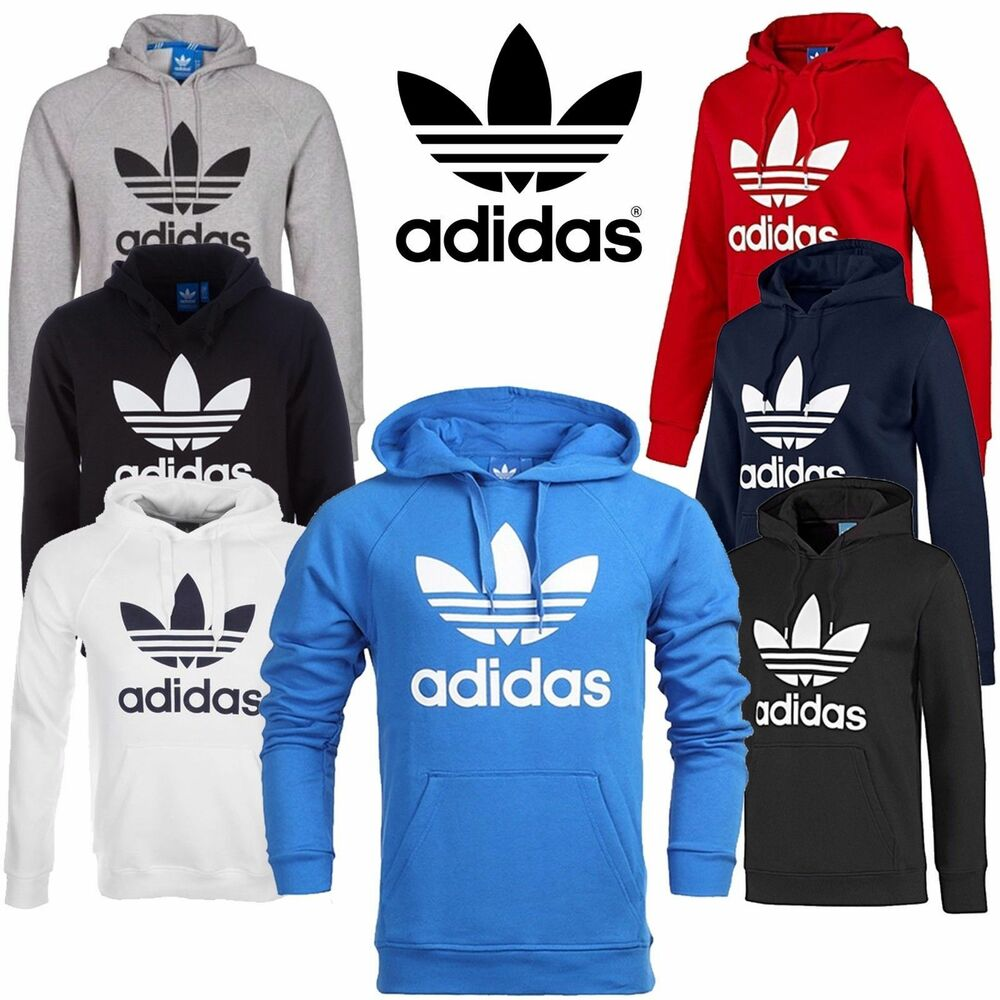 new mens adidas original trefoil fleece hoody sweatshirt. Black Bedroom Furniture Sets. Home Design Ideas