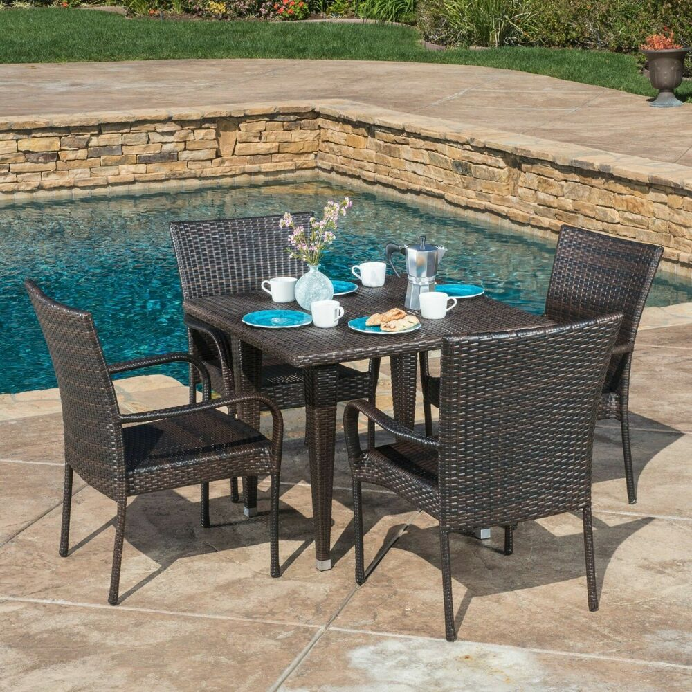 Outdoor Patio Furniture 7pc Multibrown All Weather Wicker: Dalmi Contemporary Outdoor 5pc Brown Wicker Dining Set