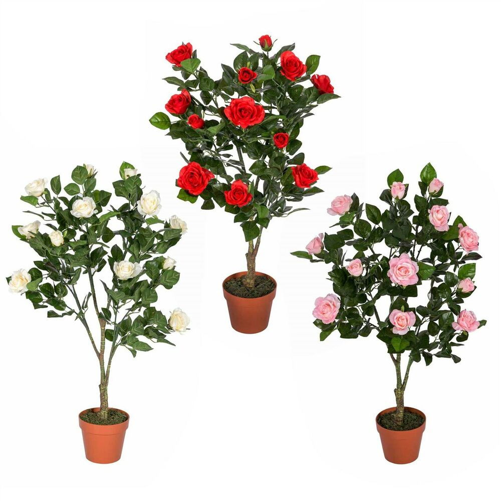 Artificial potted rose tree plants white pink red wedding for Artificial flower for wedding decoration