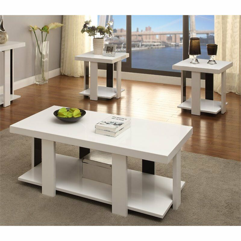 Furniture of america haven 3 piece coffee table set in for Furniture of america