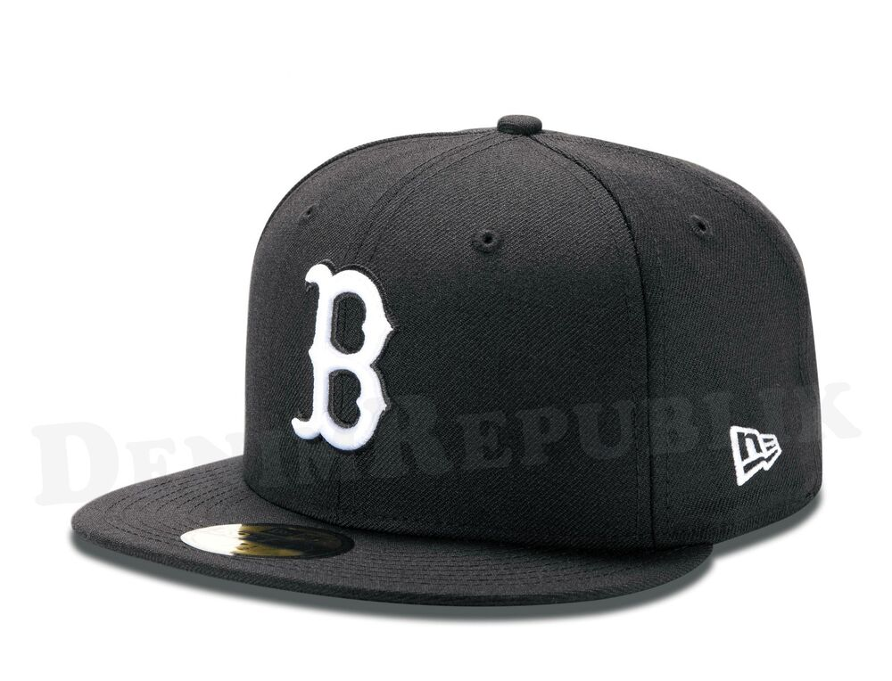 4ec529e2ccd Details about New Era 59FIFTY BOSTON RED SOX Black   White MLB Baseball Cap  fitted 5950 Hat