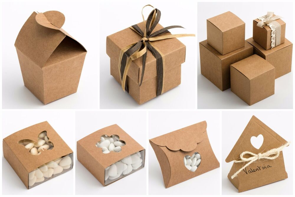 Wedding Favour Gift Boxes Uk : Luxury DIY Wedding Favour Gift Boxes Natural Vintage Shabby Chic Kraft ...