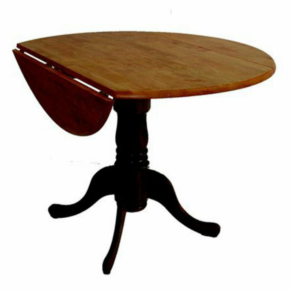 International concepts hickory valley 42 in round dual for Round pedestal dining table set with leaf