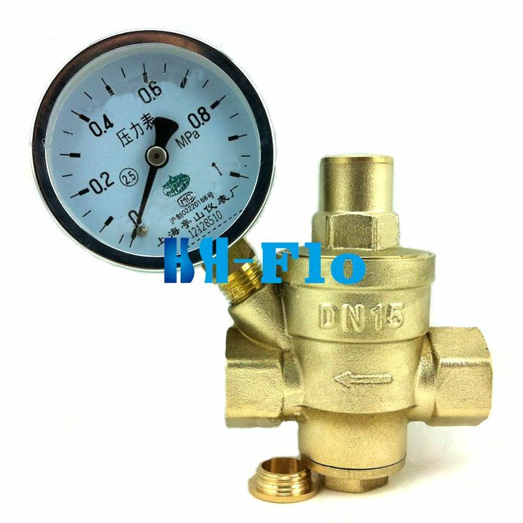 brass water pressure regulator with pressure gauge pressure maintaining valve ebay. Black Bedroom Furniture Sets. Home Design Ideas