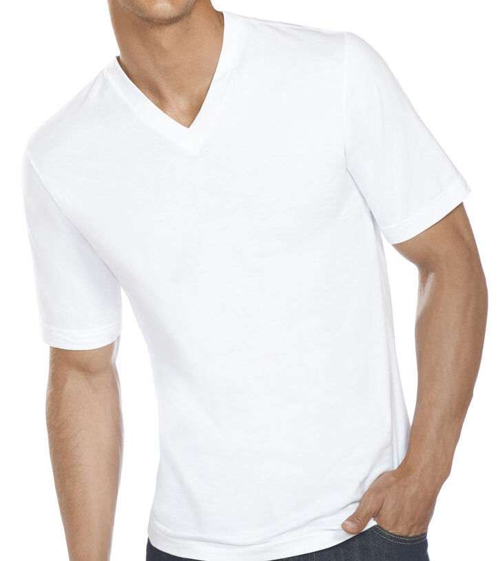 New 6 pack mens 100 cotton tagless v neck t shirts for Mens white cotton t shirts