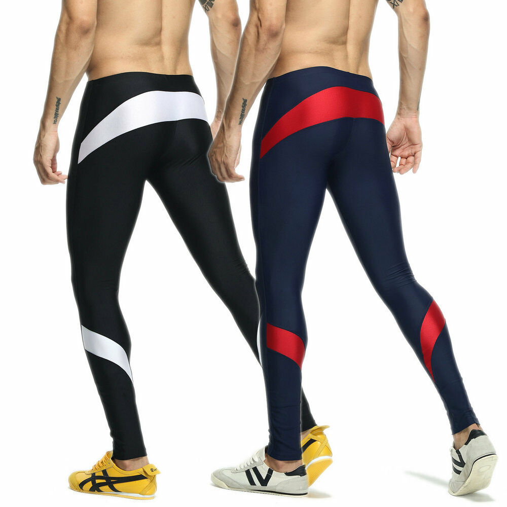 Men Sexy Sports Long Pants Swim Trunks Running Gym Fitness