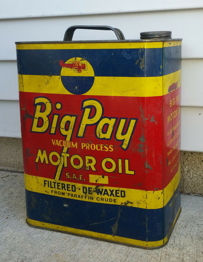 Rare vintage 2 gallon big pay vacuum process motor oil can for Gallon of motor oil