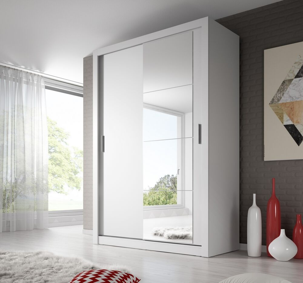 bedroom mirror sliding door wardrobe arti 4 150cm in white matt ebay