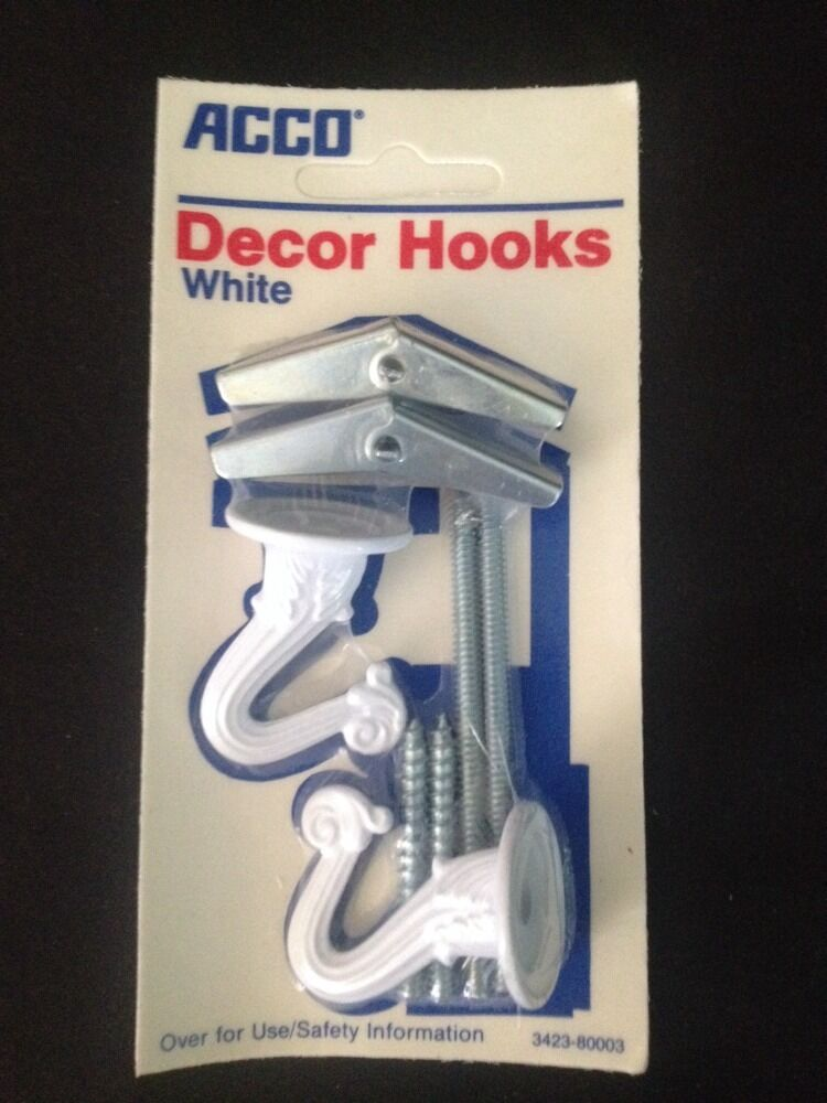 Set Of 2 Acco White Metal Decor Hooks For Drywall Amp Wood