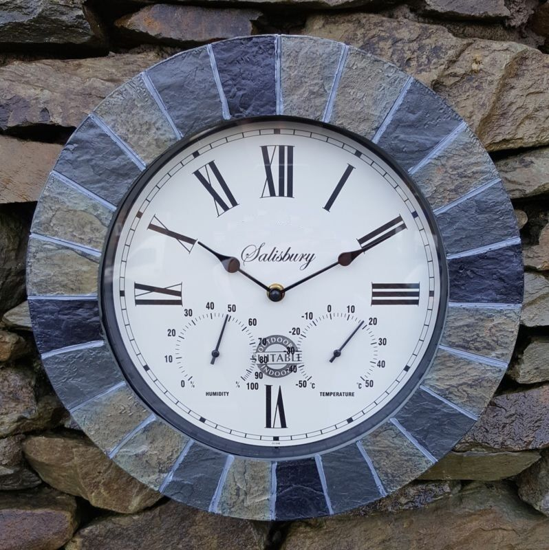 slate effect garden wall clock thermometer humidity