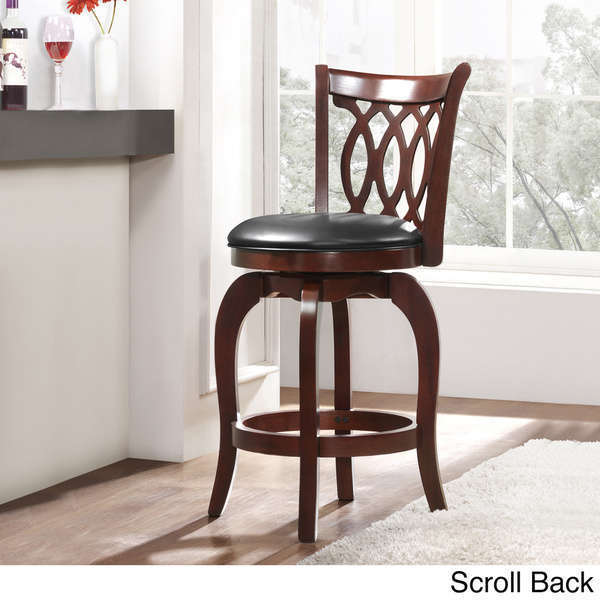 Home Swivel Counter Stool Cherry 24 Inch Bar Pub Height