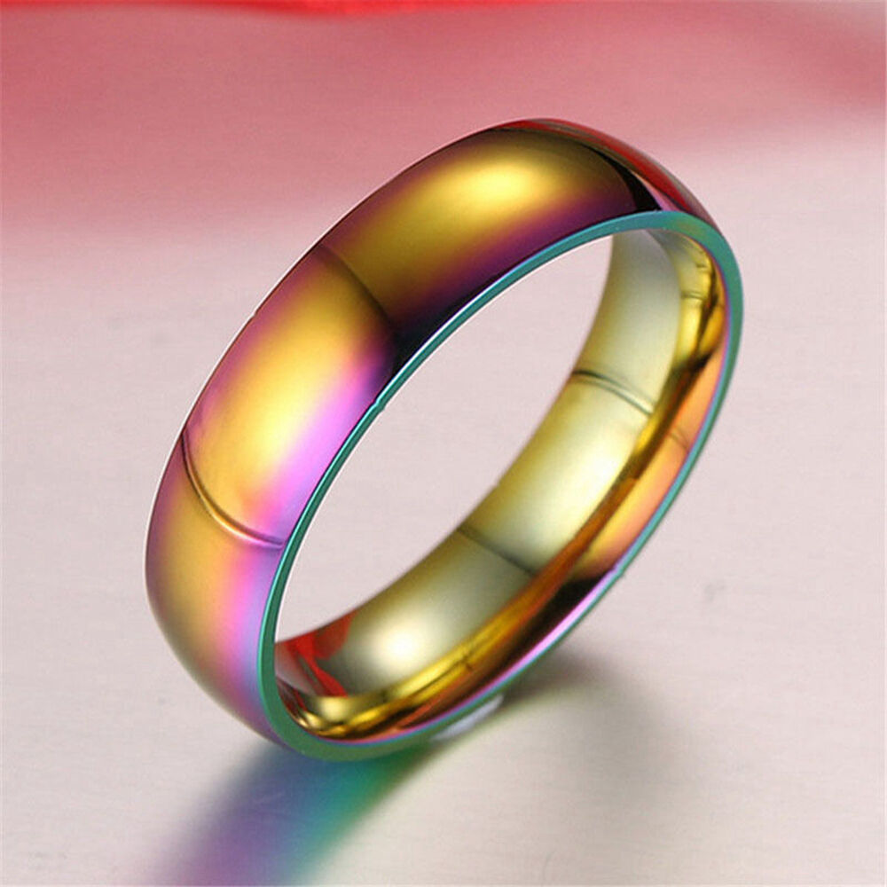 Rainbow Wedding Rings: Titanium Steel Men Women Rainbow Rings Finger Band