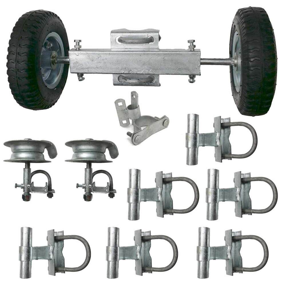 Rolling gate hardware kit chain link track
