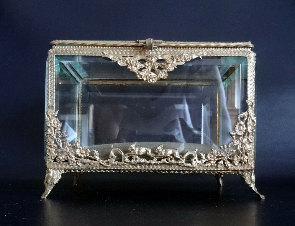 large french antique beveled glass jewelry display box