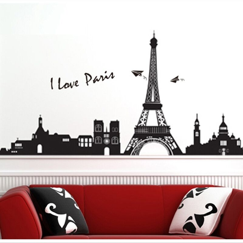 Bedroom diy home decor removable paris eiffel tower art decal wall sticker li ebay - Eiffel tower decor for bedroom ...