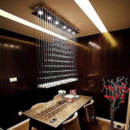 Details About Modern Crystal Rectangle Rain Drop Chandelier Luxury Ceiling Lights Flush Mount