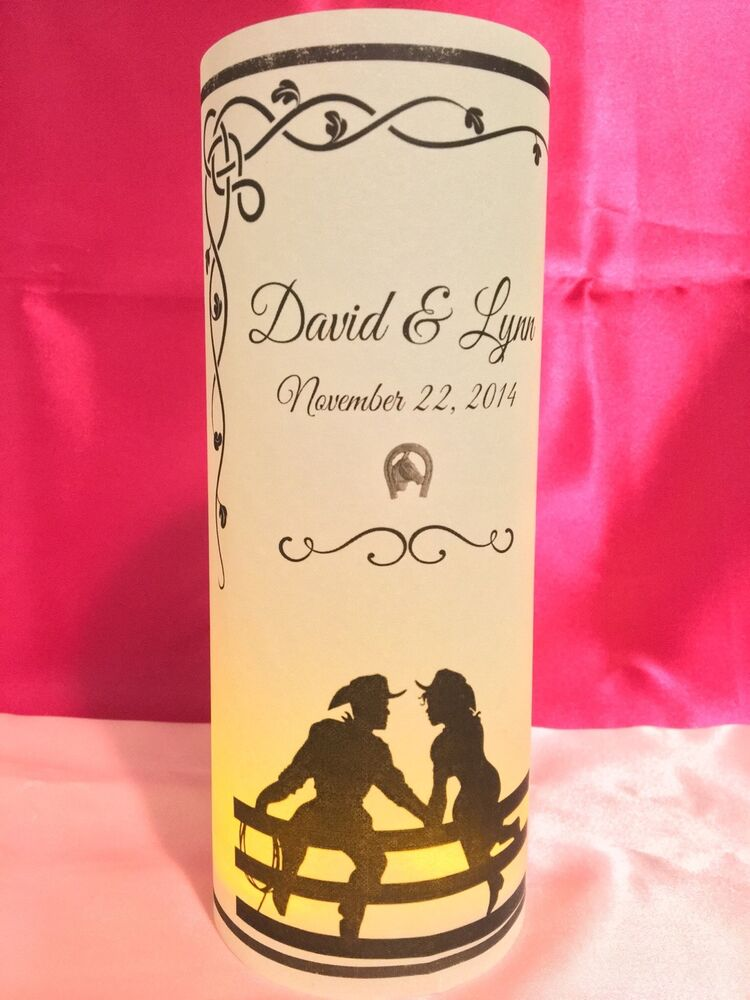 10 Personalized Country Western Wedding Luminaries Table