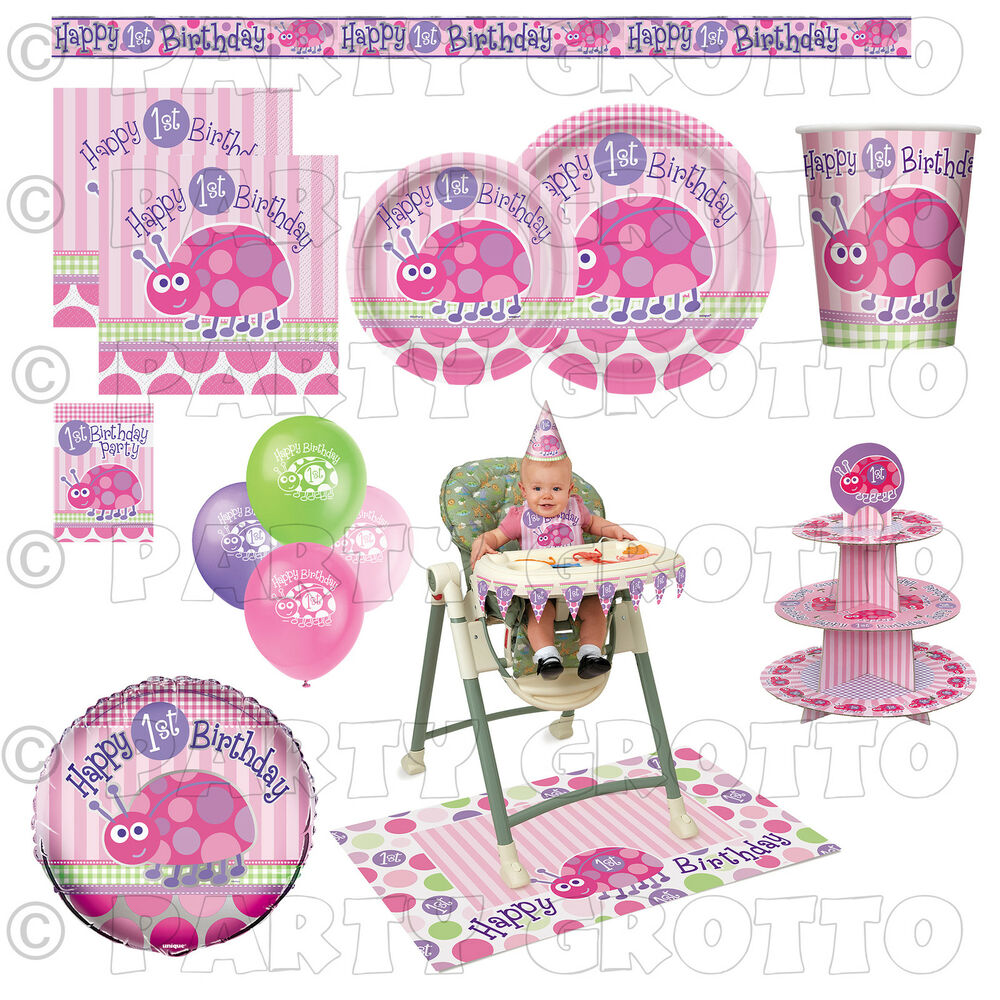1st first birthday baby girl party supplies ladybug for Baby girl birthday party decoration ideas