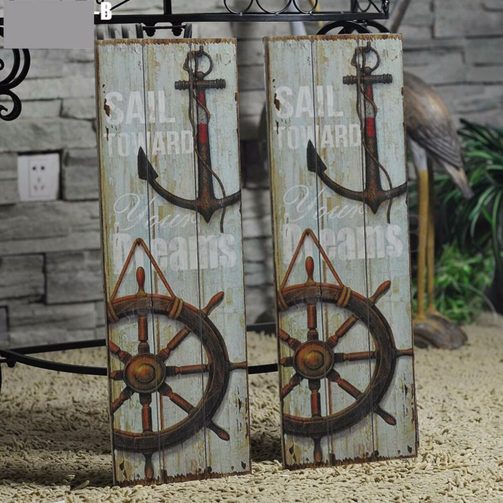 Vintage anchor picture nautical decor rustic wooden sign for Anchor decoration
