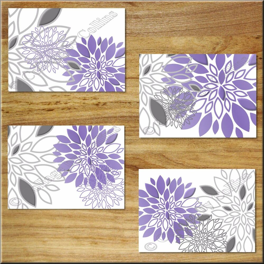 Kitchen Print Kitchen Wall Art Purple Kitchen Decor Gratitude: Modern Floral Flowers Burst Purple Gray Wall Art Prints