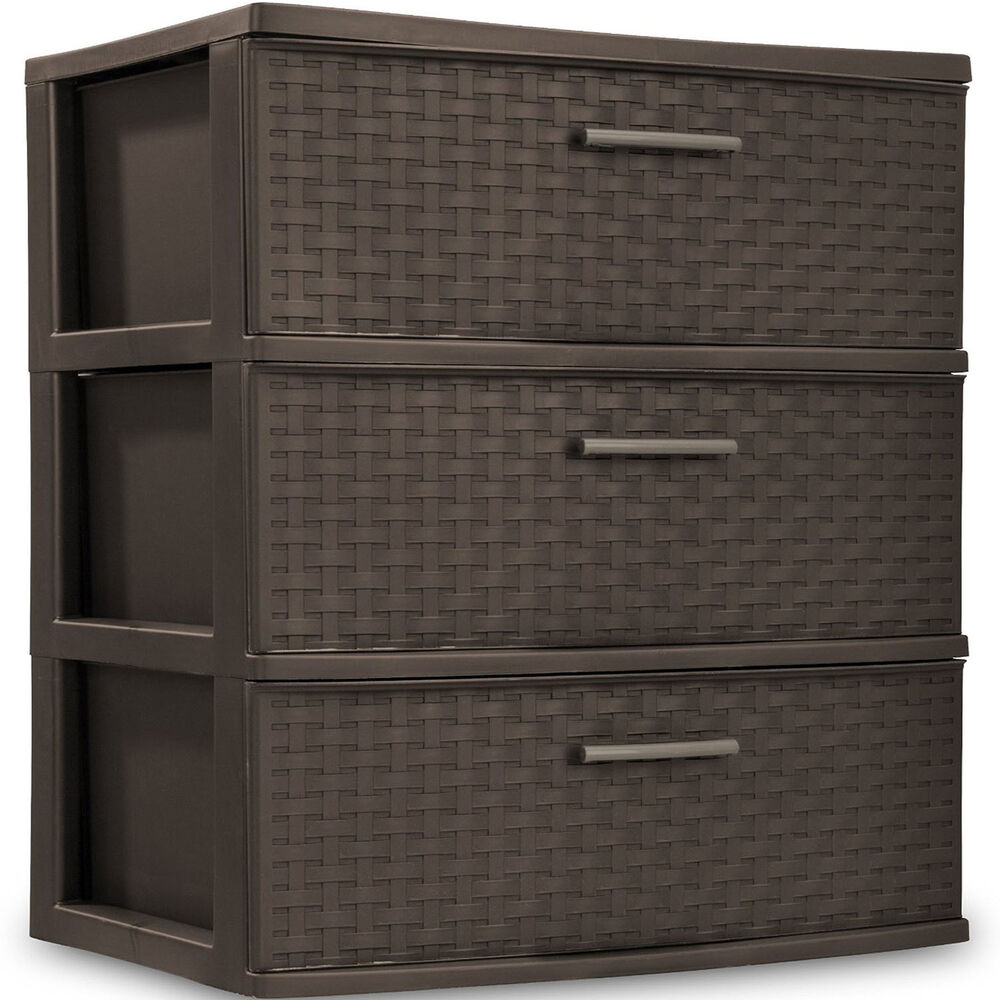 3 drawer wide organizer cart plastic storage office container tower bin box ebay. Black Bedroom Furniture Sets. Home Design Ideas