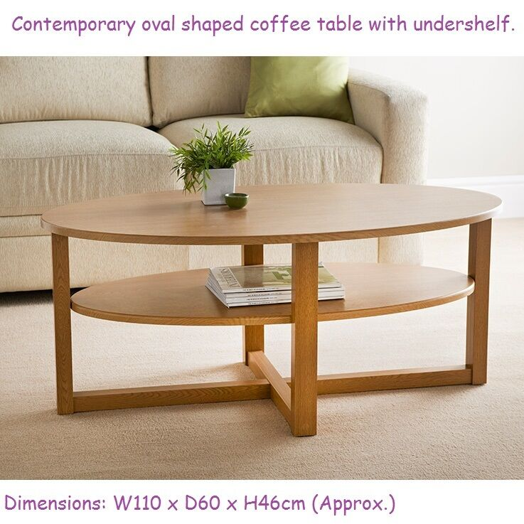 Oval Wooden Coffee Table With Shelf: Contemporary Oval Shaped Milton Coffee Table With