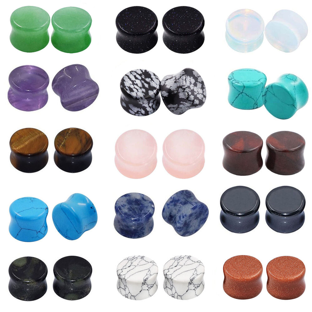 All 15 Pairs Stone Plugs Organic Double Flared Ear Gauges