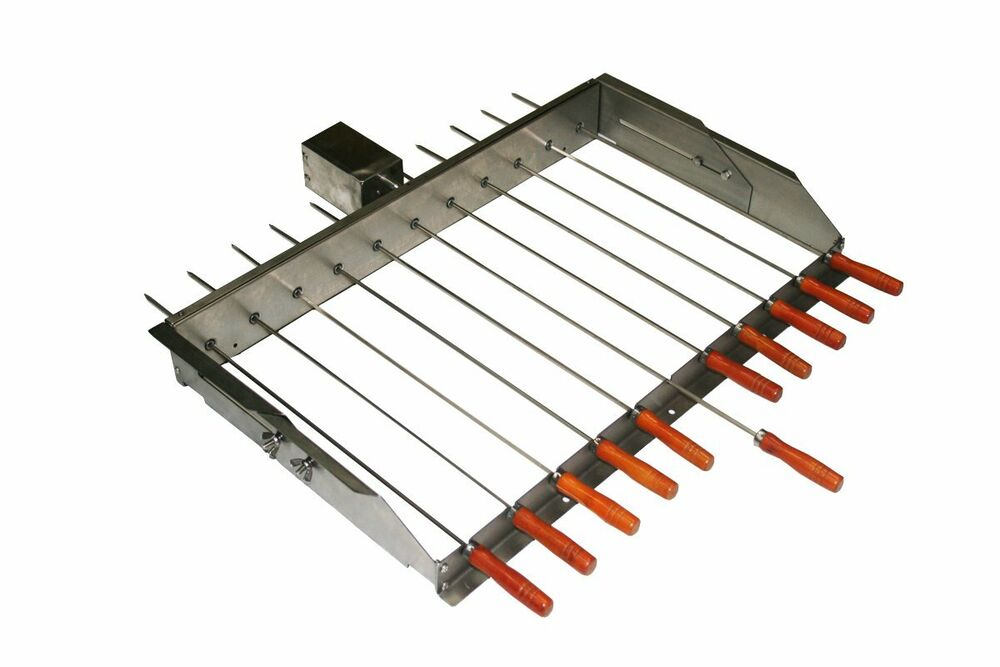 Bbq cypriot grill top rotisserie kebab skewers with for Bbq spit motors electric