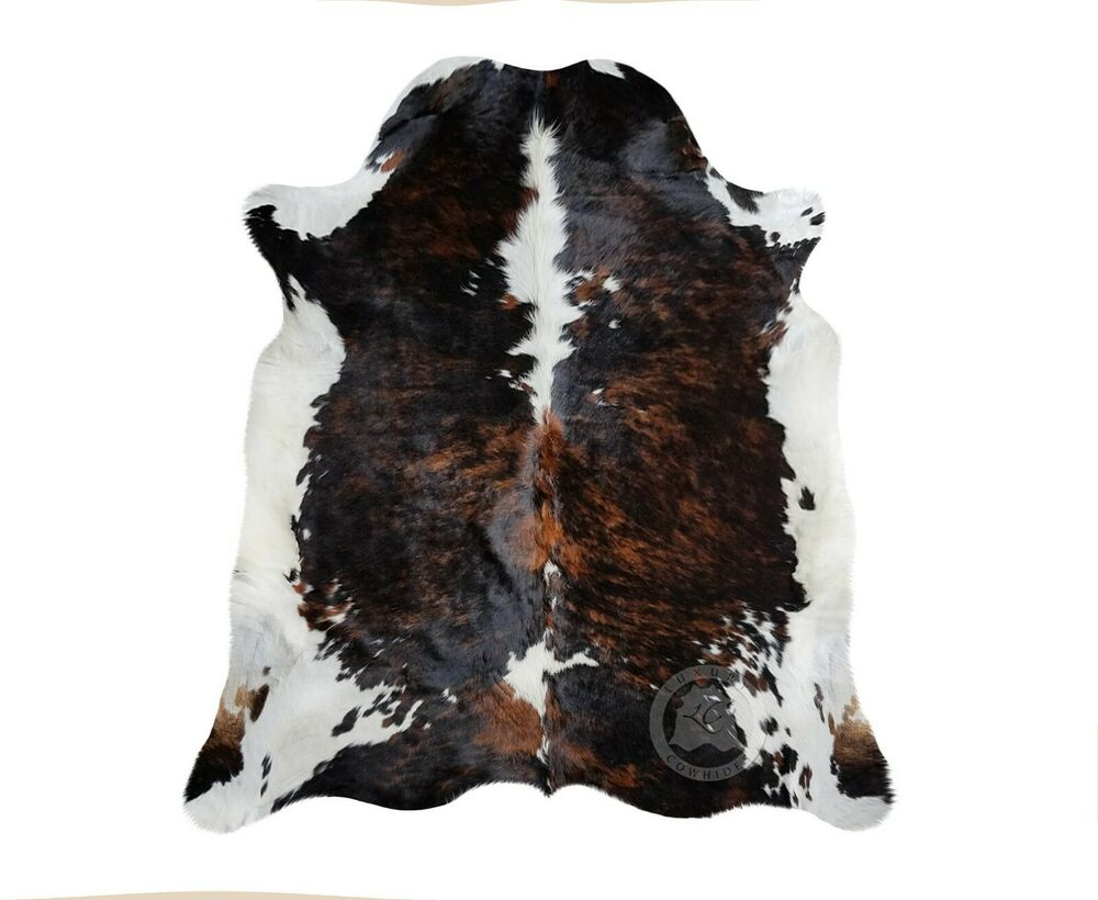 New Cowhide Rug Leather Brindle Tricolor Colombian 5 X7