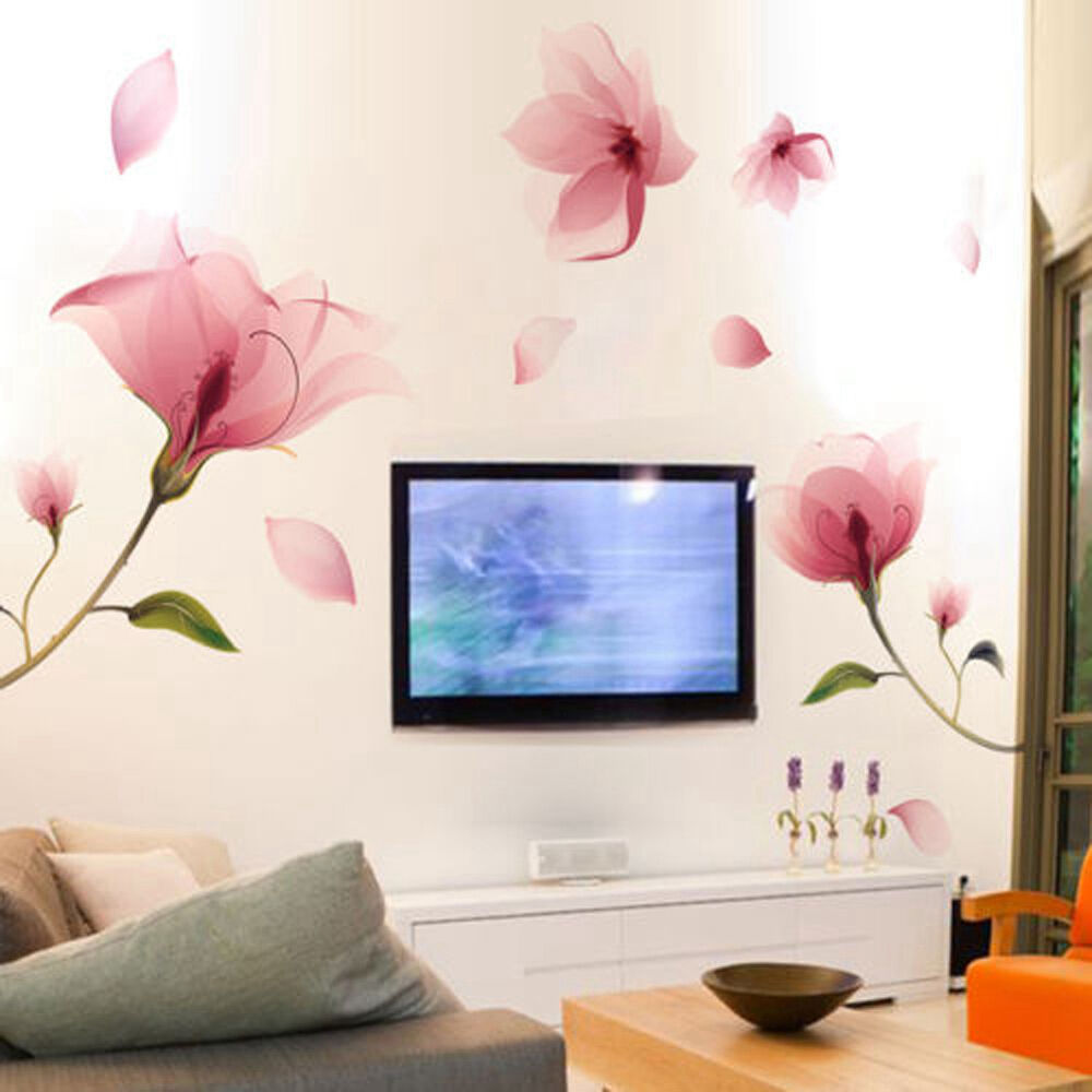 Removable pink flower wall sticker vinyl mural decals art for Room wall decor