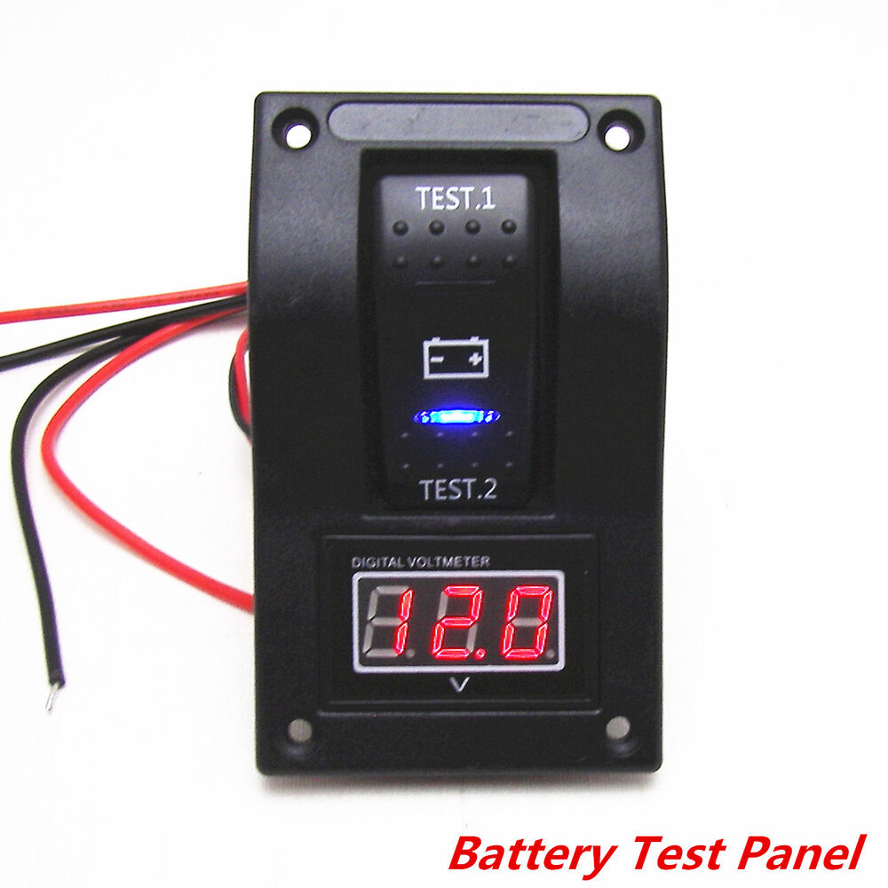 12v rv car truck marine boat voltmeter led dual battery test panel rocker switch ebay. Black Bedroom Furniture Sets. Home Design Ideas