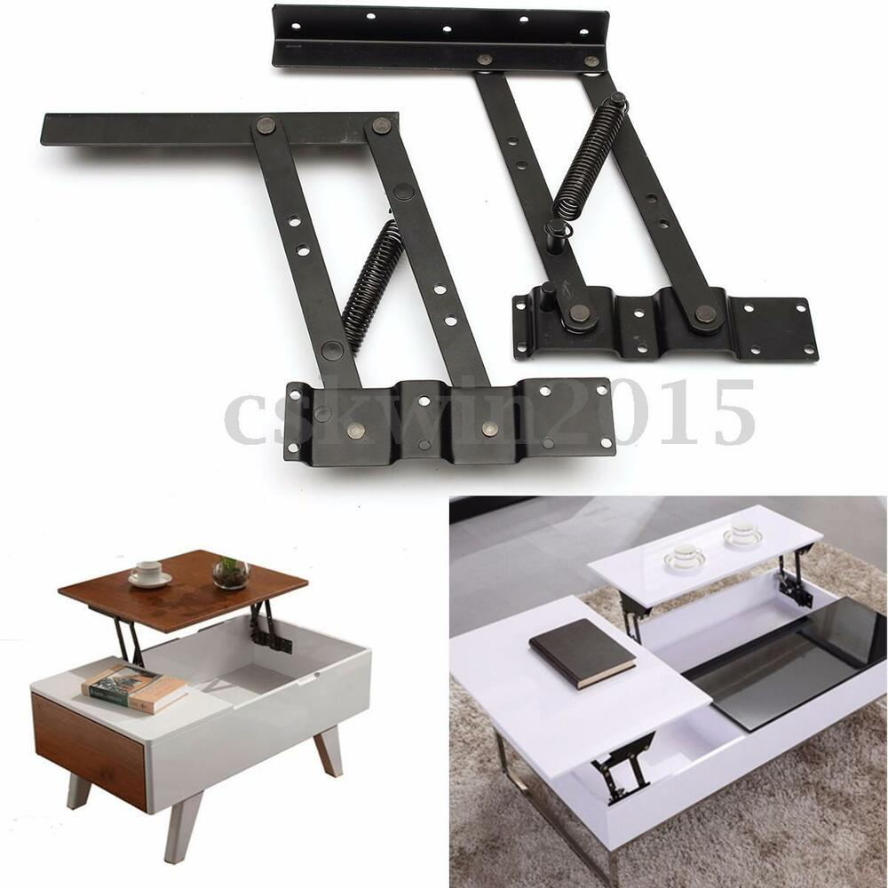 2Pcs Lift Up Top Coffee Table Lifting Frame Mechanism Spring Hinge