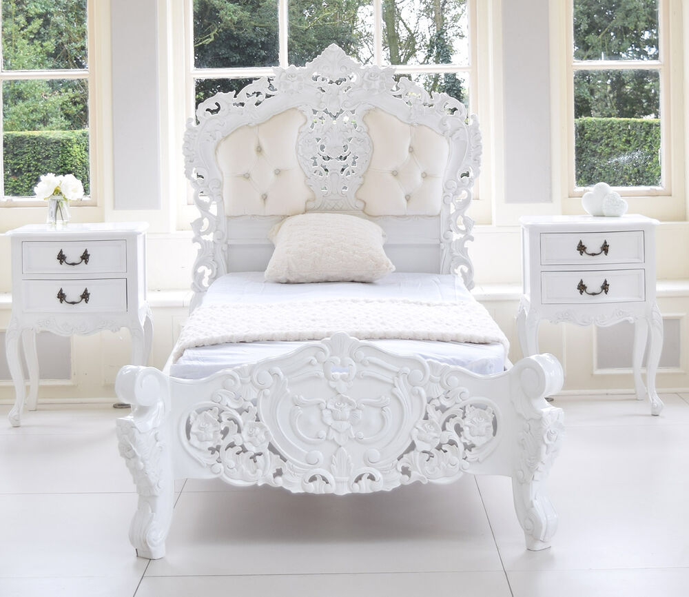 French italian rococo bed single white louis italian for French baroque bed
