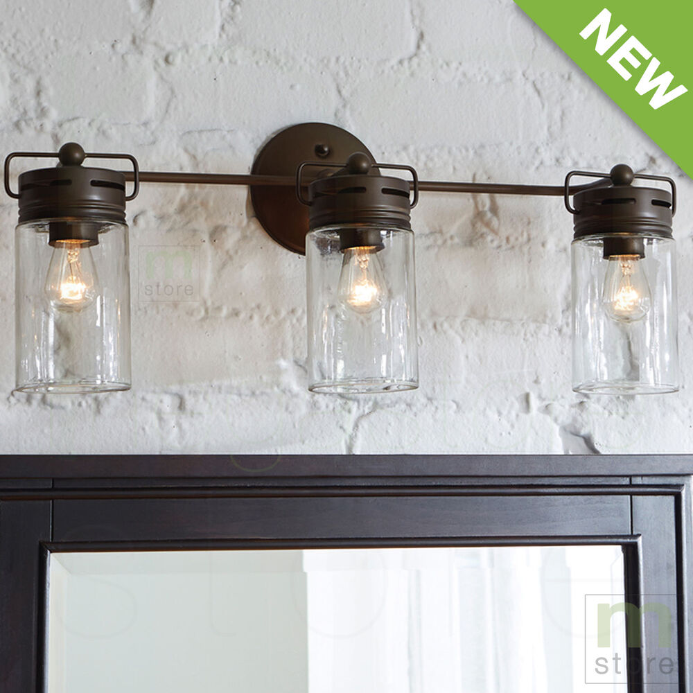 Bathroom vanity 3 light fixture aged bronze mason jar wall for Lighting over bathroom vanity
