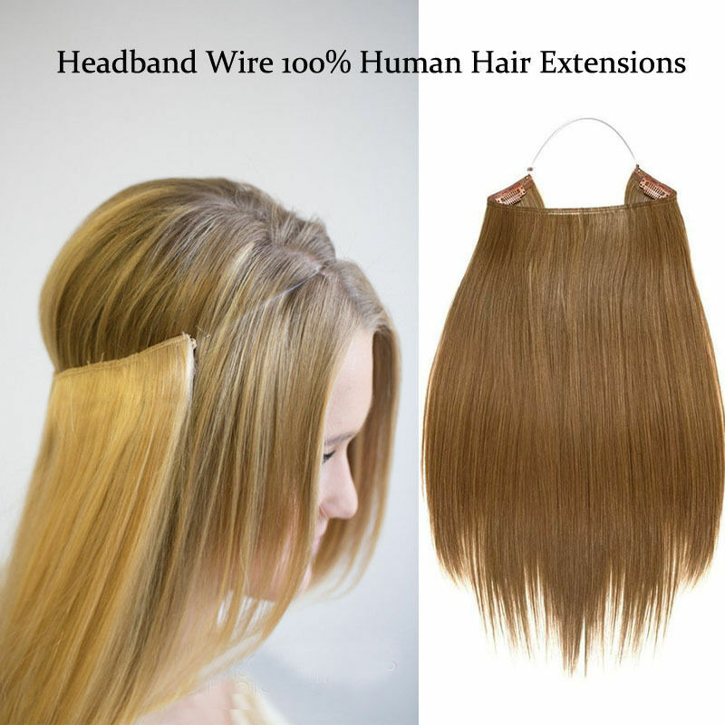 Blonde Hidden Halo Invisible Wire Flip Weft In 100 Remy
