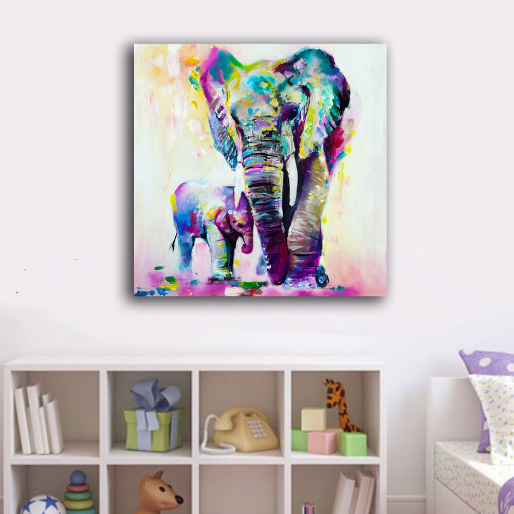 70 70 3cm baby mum elephant canvas prints framed wall art home decor kids gift ebay for Canvas prints childrens bedrooms